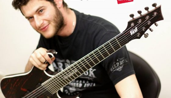 Kiriakos with his KGP Custom 7 String Signature guitar from Fast Guitars loaded with EMG Pickups